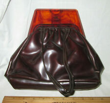 Vintage BROWN WOMAN'S PATENT LEATHER Handbag Bakelite Handle  RETRO Excl Cond