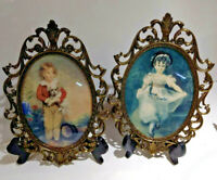 Vintage Brass Framed Oval Portrait Convex Bubble Dome Glass Frame Italy Art Pair