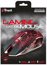 TRUST 21683 IZZA GXT 105 LED ILLUMINATED 6 BUTTON GAMING MOUSE, 800-2400 DPI