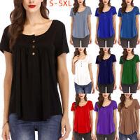 Women Tunic Tops Short Sleeve T-Shirt Casual Swing Loose Blouse Summer Plus Size