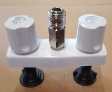 """RV/Camper/Trailer - 4"""" Exterior Outside Shower Faucet with Quick Connect, White"""