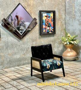 1:12 Dollhouse Art Deco rattan armchair geometric green