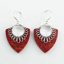 Ohrringe Ohrhänger 925er Silber rot Naturkoralle Koralle 45mm