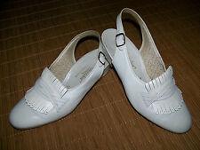 SEMLER wollweiße Slingback 37,5 UK 4,5 H Leder Damen Schuhe Sommer Fransen °YYB