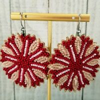 Vintage Native American Southwestern Red White Flower Seed Bead Leather Earrings