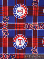 MLB Texas Rangers Plaid Licensed Fleece Fabric  / 58 Wide / SOLD BY THE YARDS