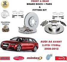 FOR AUDI A4 AVANT 2.0 TDI 170bhp FRONT & REAR BRAKE DISCS & PADS + FITTING KITS