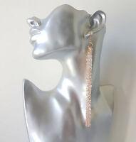 Gorgeous LONG ROSE GOLD tone chain tassel drop earrings -  Choice of lengths
