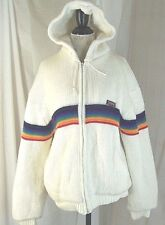 Brittania Rainbow White Full Lined Zip Up Hooded Knit Sweater 2 pockets Size XL