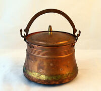 ANTIQUE VINTAGE HAND CRAFTED  Hammered COPPER Pot Kettle - Rustic Kitchen Decor
