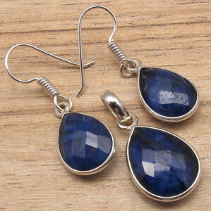 925 Silver Plated Blue Simulated SAPPHIRE Gemstones FANCY Earrings & Pendant SET