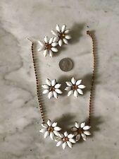 Vtg '50 JULIANA ? milk glass wedding retro necklace brooch earring set