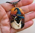 Siamese cat Witch art pendant painting original handpainted by Suzanne Le Good
