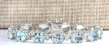35.75 Carat Natural Aquamarine 14K White Gold Diamond Bracelet