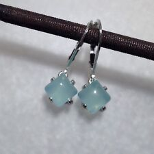 Sterling Silver Square Natural Aqua Blue Chalcedony Lever Back Earrings 2.95CTW