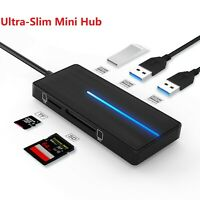 2Pack Ultra USB 3.0 Hub 4 Ports Adapter Charger TF SD Card Reader For PC Mac