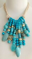 CHICO'S TURQUOISE-HUED ROPE BIB NECKLACE