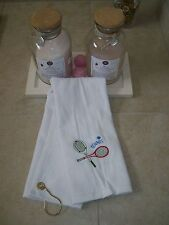 Personalized Sports Towel with Grommet & Hook  with tennis rackets