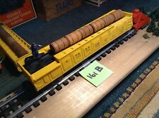 LIONEL POSTWAR A.T & S.F. OPERATING BARREL CAR YELLOW 3652-50 (161B)