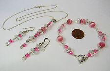 925 Sterling Silver Wire Wrapped Necklace Bracelet Earrings Set Pink Cat's Eye