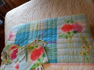 Designers Guild Blue Pink White Abstract Quilt with Two Throw Pillow Shams New