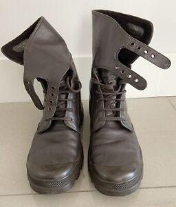 Original Dark Brown Vintage Helmut Lang Men's Fur Lined Lace-up Buckle Boots