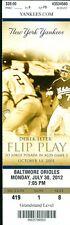 2012 Yankees vs Orioles Ticket:  Ichiro Suzuki 100th career  HR/Eric Chavez HR