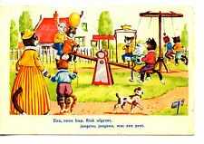 Dressed Kitty Cat Mom-Children-Playground Fun Teeter Totter-Vintage Postcard