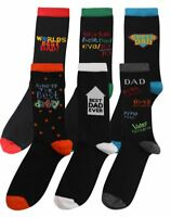 6 Pairs Mens Cotton Rich BEST DAD Socks Size 6-11 Fathers Day Gift Designer