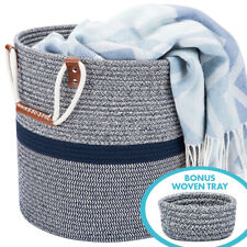 Blubinga Blanket Storage Basket – Cotton Rope Storage Basket for Blankets