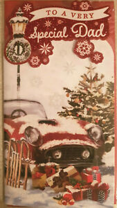 DAD  CHRISTMAS CARD - LOVELY GLITTERY SNOW COVERED CAR  CARD 23 X 12