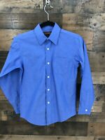 Brooks Brothers Boy's Blue Long Sleeve Button Up Shirt Size 12 100% Cotton