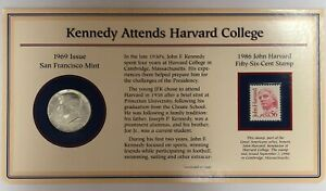 1969 S Kennedy Attends Harvard College & 1986 Fifty Six Cent Stamp Story Set