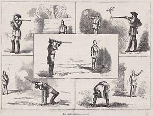 Sport - Schießen, Kunstschütze - Stich, Holzstich1879 - selten -