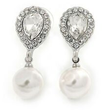 Bridal Wedding Prom Glass Pearl, Crystal Teardrop Earrings In Rhodium Plating -