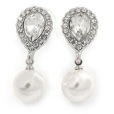 Bridal Wedding Prom Glass Pearl, Crystal Teardrop Earrings In Rhodium Plating -