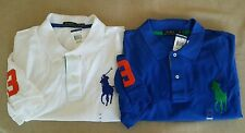 NEW 2 Lot Polo Ralph Lauren BIG PONY S/S Shirt Pique Cotton Mens 4XB White Blue
