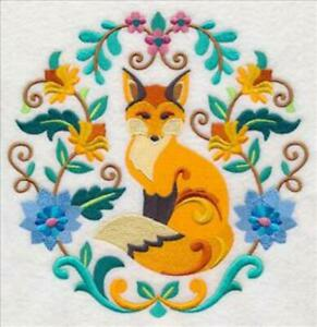 """Large Machine Embroidered Floral Fox (M8577) Panel - size 7.76"""" x 7.79"""""""