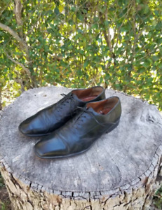 Genuine Leather Shoes Lace Up  1970s Vintage Oxford Size 8