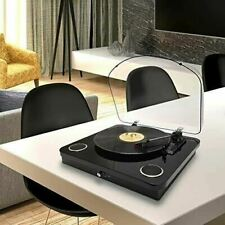 Photive Spin Belt Driven Bluetooth Turntable with Built-in Stereo Speakers Black
