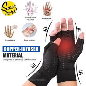 Compression Copper Arthritis Gloves Hand Wrist Brace Finger Pain Relief Support
