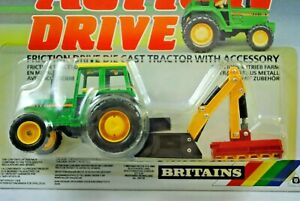 BRITAINS Action Drive JOHN DEERE Type Tractor Fitted w/ GRASS / HEDGE CUTTER MOC
