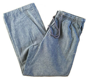 """Blue Chambray 100% Cotton Trousers High Waisted M&S Size 12 27"""" Leg Short / Crop"""