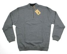 NWT $80 HORN LEGEND Solid Charcoal Grey 100% Cotton 1/4 Zip Pullover Sweater L