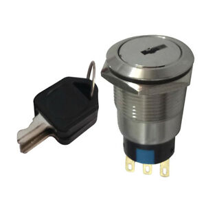 22mm Sturdy 2-Position ON/OFF Lock Switch Electronic Key Switch with 2 Keys