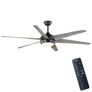 Ceiling Fan with Light 68 in. 6-Blade 9-Speed Reversible Motor Gray/Matte Black