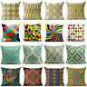 Boho Style Vintage Colorful Linen Pillow Case Cushion Cover Geometric Cotton
