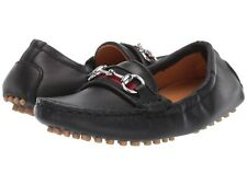 NIB NEW Gucci boys black leather horsebit driver loafers moccasins 24 25 26