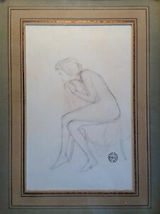 "original pencil drawing framed ""seated nude "" signed stuart kaufman 1926-2008"