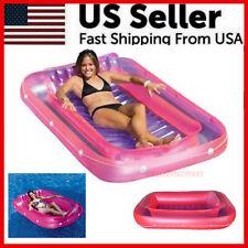 Pool Float Lounge Swimming 71 Inch Suntan Tub Inflatable Water Raft Headrest USA